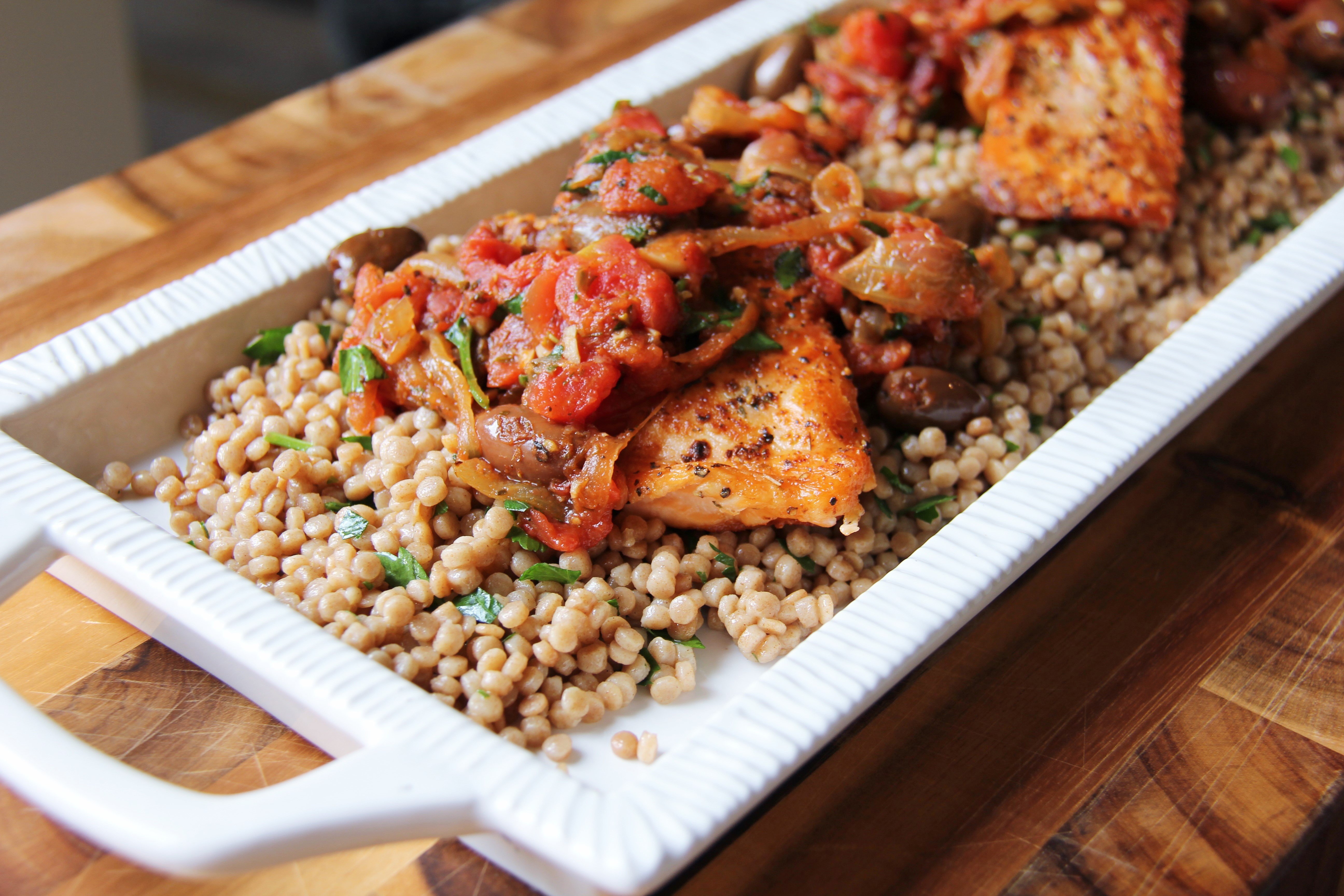 Lemony Whole Wheat Pearl Couscous With Broccoli And Salmon Recipes ...