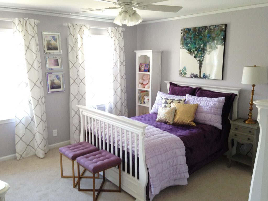 purple and grey bedroom
