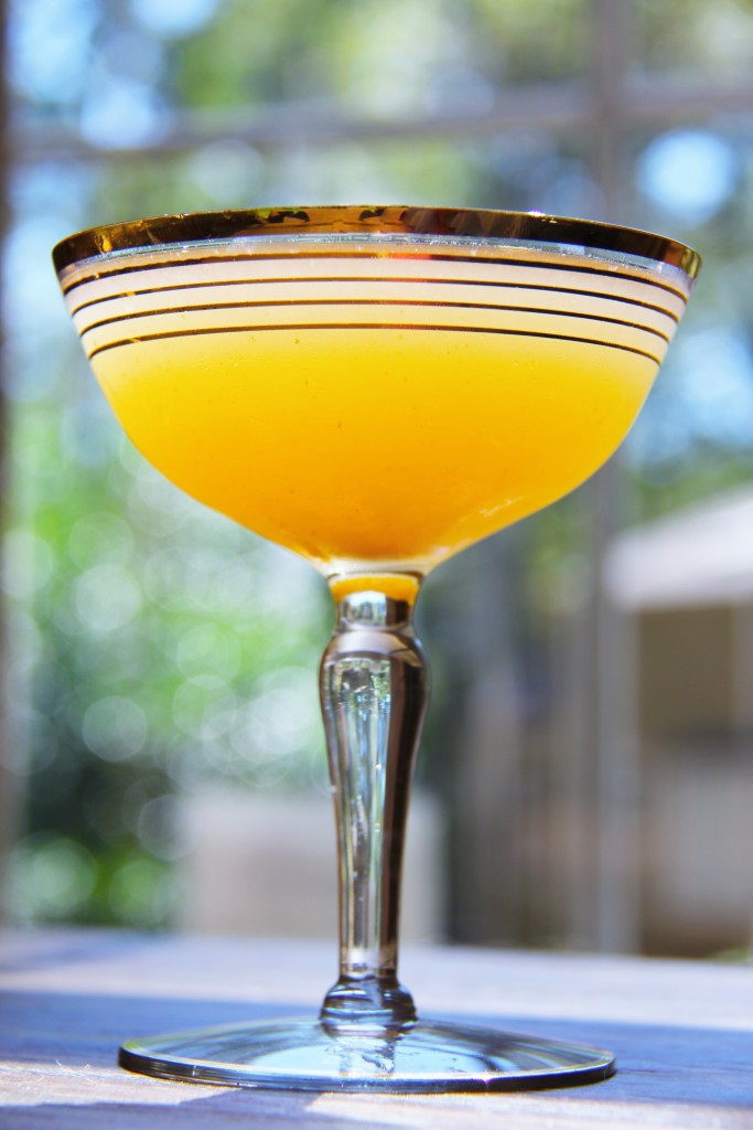 Fireside Sipper: Gin, Cognac, St Germain, Bitters, Pear Nectar