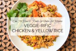 easy chicken and yellow rice recipe with title