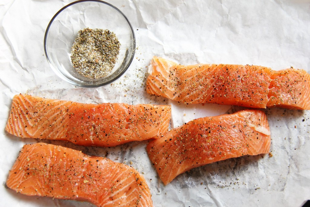 greek salmon with couscous prep 1