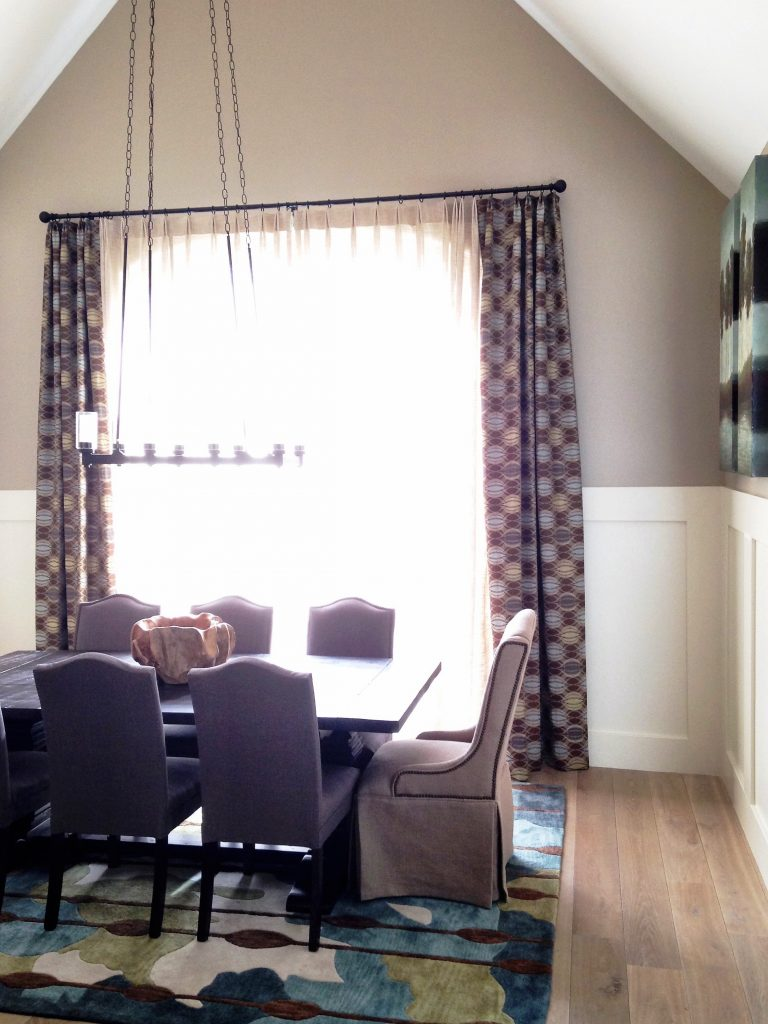 long curtains in casual dining room