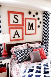 navy coral bedroom monogram