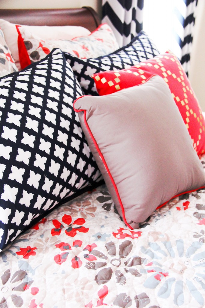 navy coral room pillows