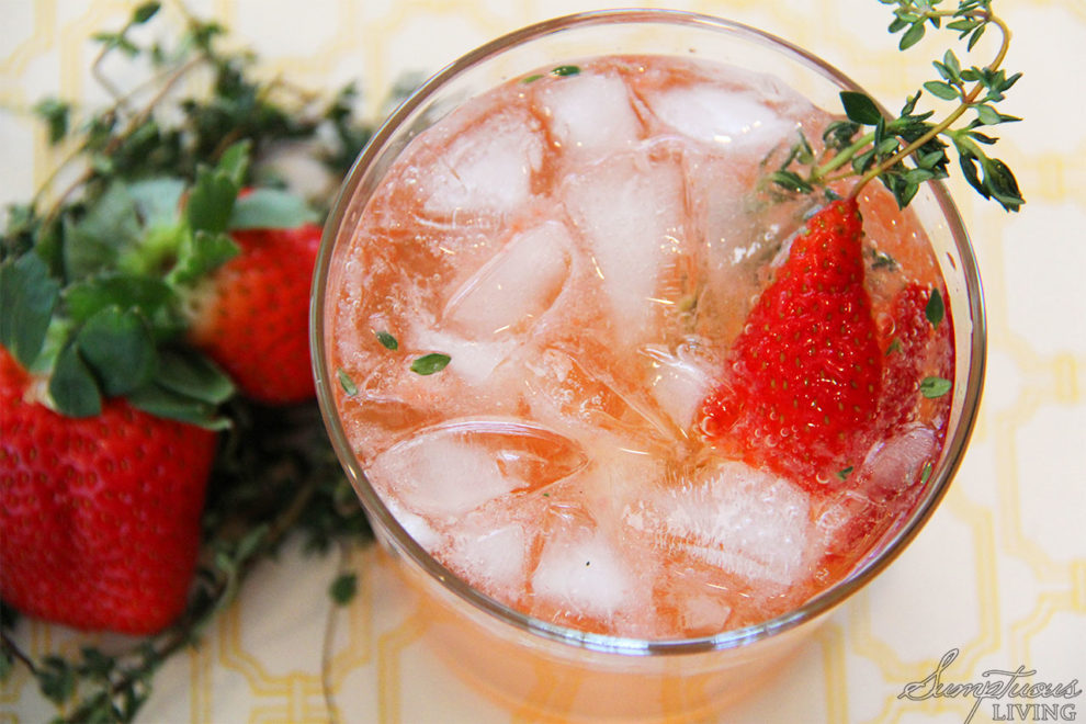 Strawberry Thyme Vodka Sparkler