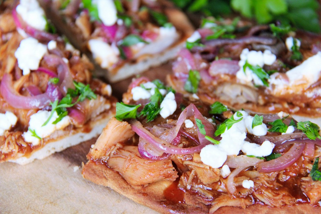 Delicious Peachy BBQ Chicken Flatbreads
