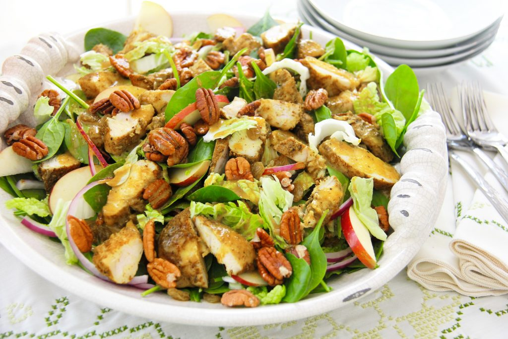 Recipe for Spinach Chicken Salad with Curry Vinaigrette