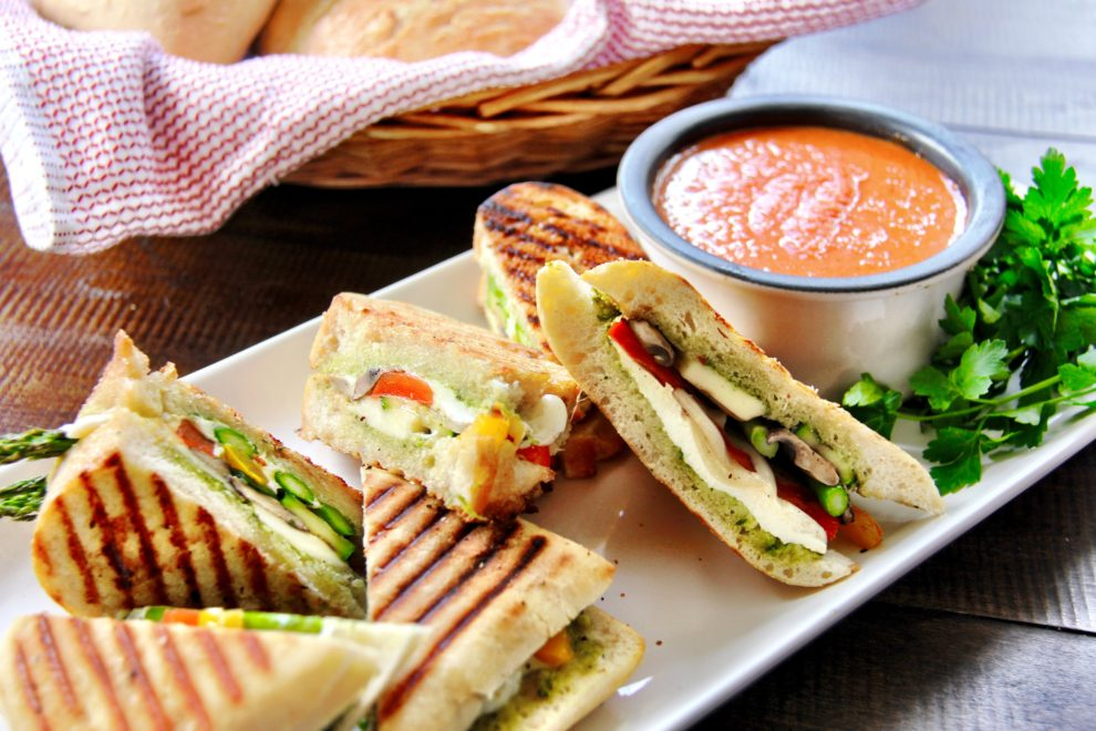 Creamy Fire Roasted Tomato Soup & Grilled Cheese Veggie Panini