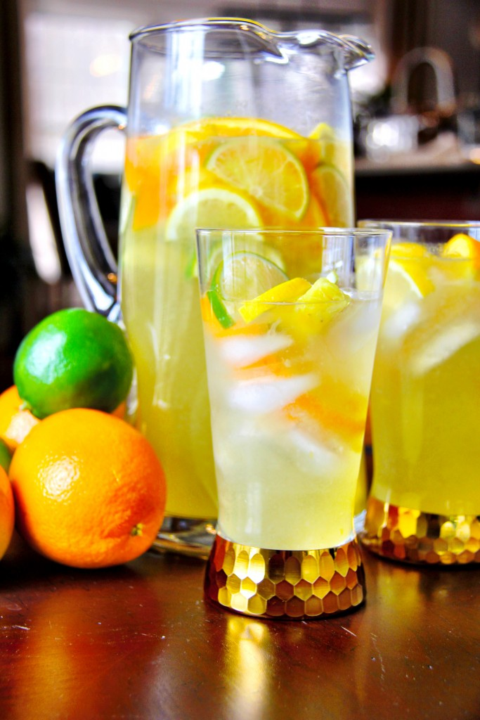 Pitcher and glass of White Wine Citrus SAngria