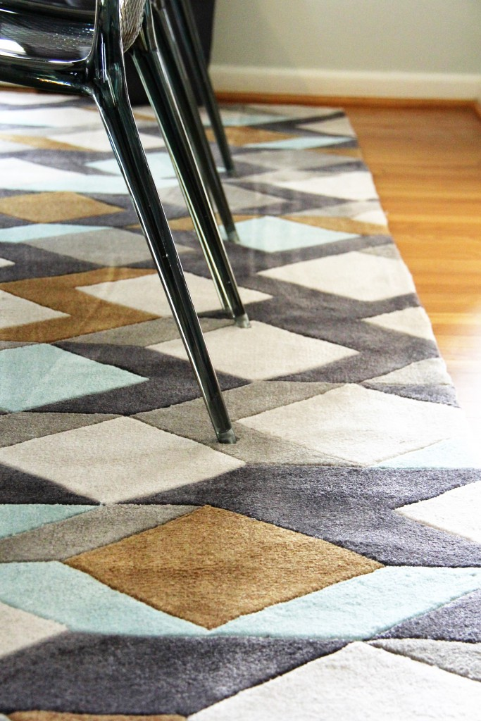 modern rug in urban dining room