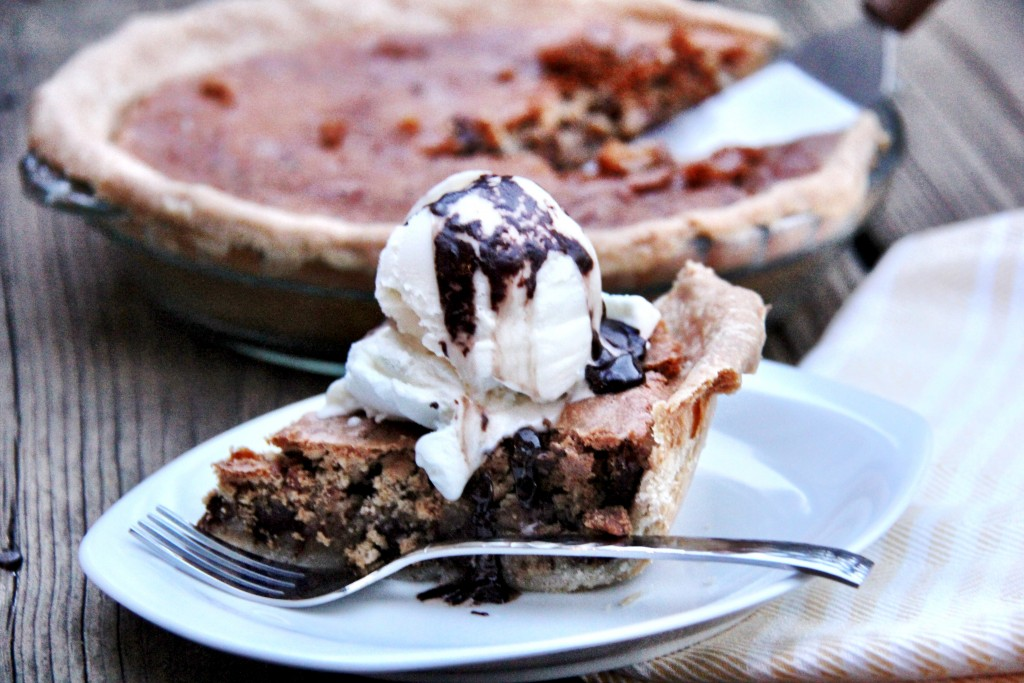 Serving Chocolate Chunk Pecan Pie