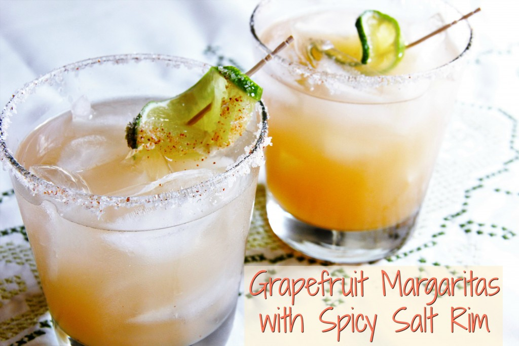 spiced rim on a grapefruit margarita