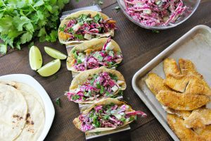 Flaky fish tacos with cucumber slaw