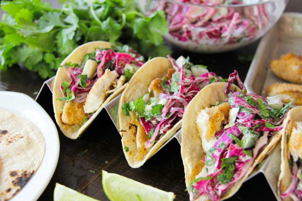 Cucumber Slaw on Fish Tacos