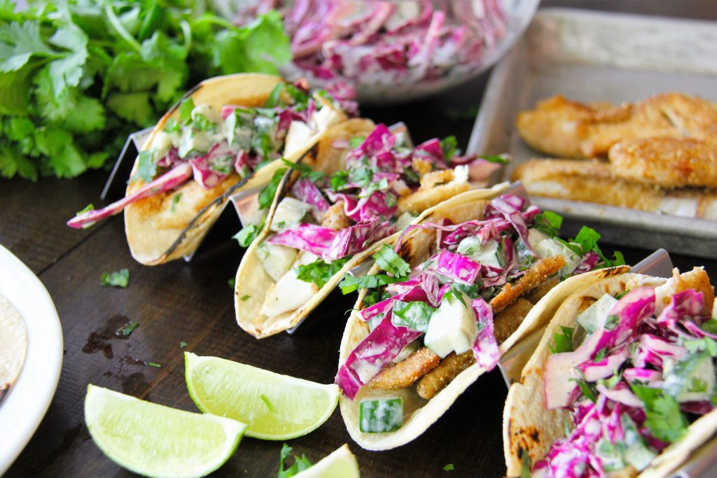 Fish Tacos with Cucumber Slaw