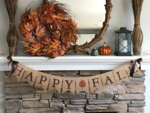 fall banner on mantle