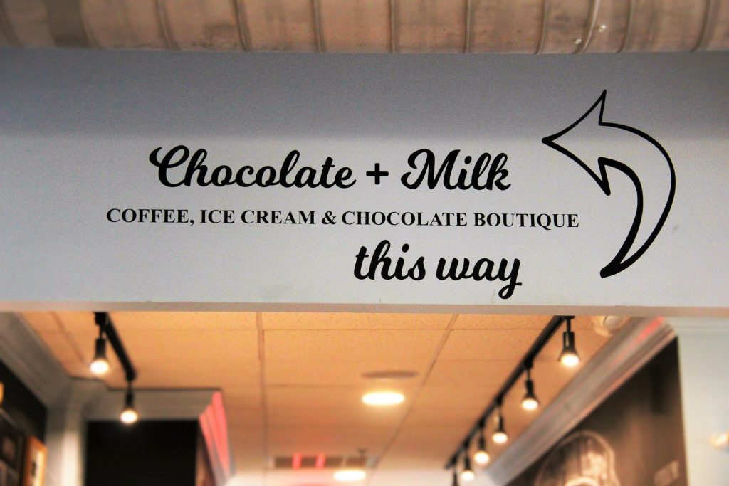 chocolate and milk at french broad chocolates