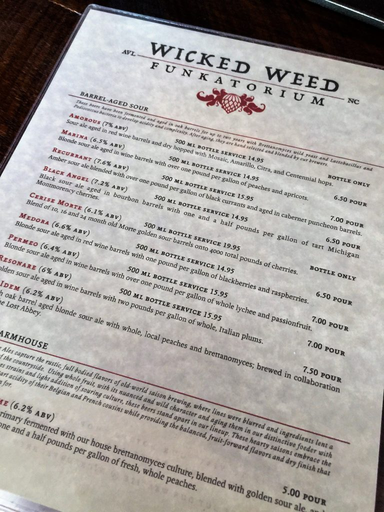 MENU OF BEERS AT ASHEVILLE'S WICKED WEED