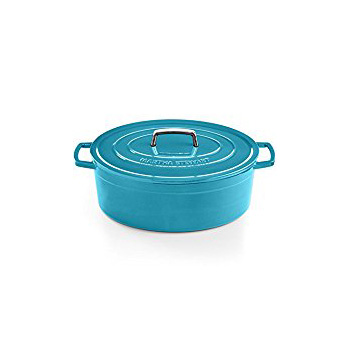 Martha Stewart Collection - Collector's Enameled Cast Iron 8 Qt. Oval Casserole (Teal)