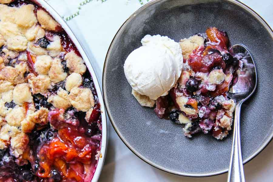 Nectarine blueberry cobbler-6