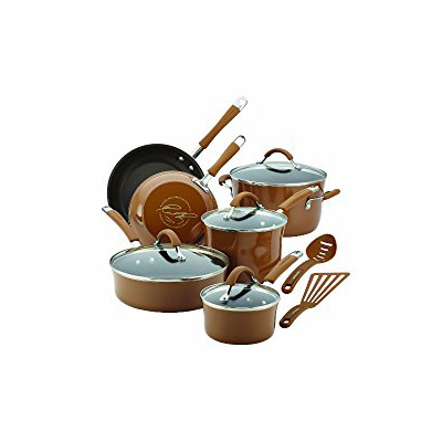 Rachael Ray Cucina Hard Porcelain Enamel Nonstick Cookware Set, Mushroom Brown