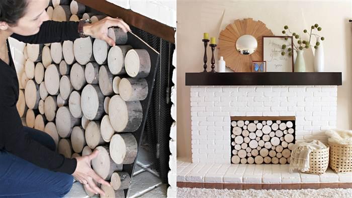 fall decorating log insert