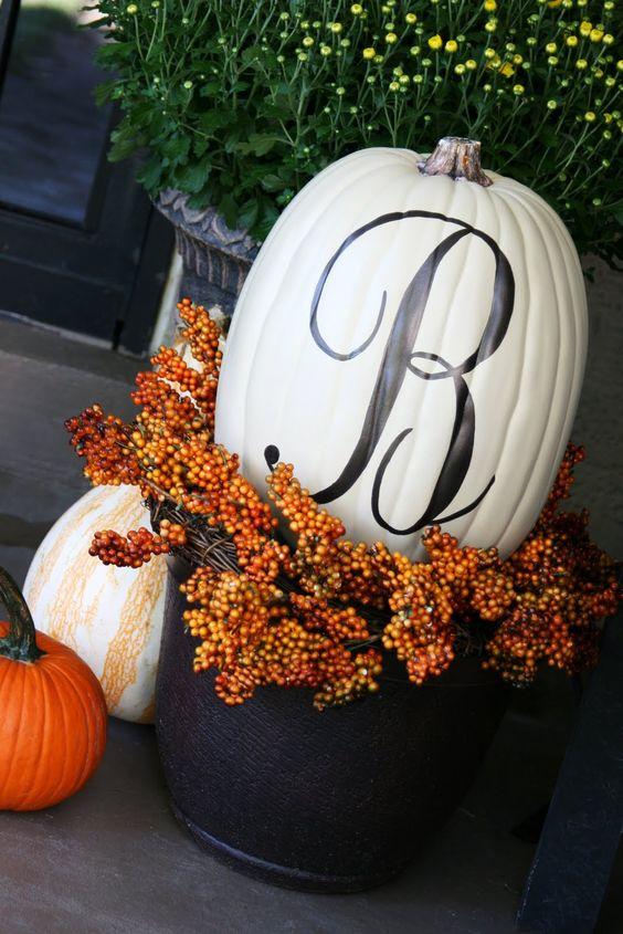 front porch fall pumpkin