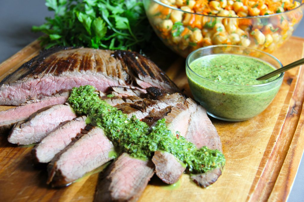 chimichurri sauce on steak