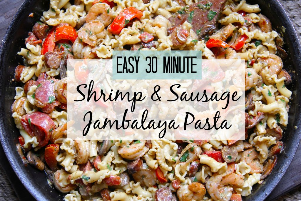 Easy 30 Minute Shrimp Sausage Jambalaya Pasta In Pesto Cream Sauce