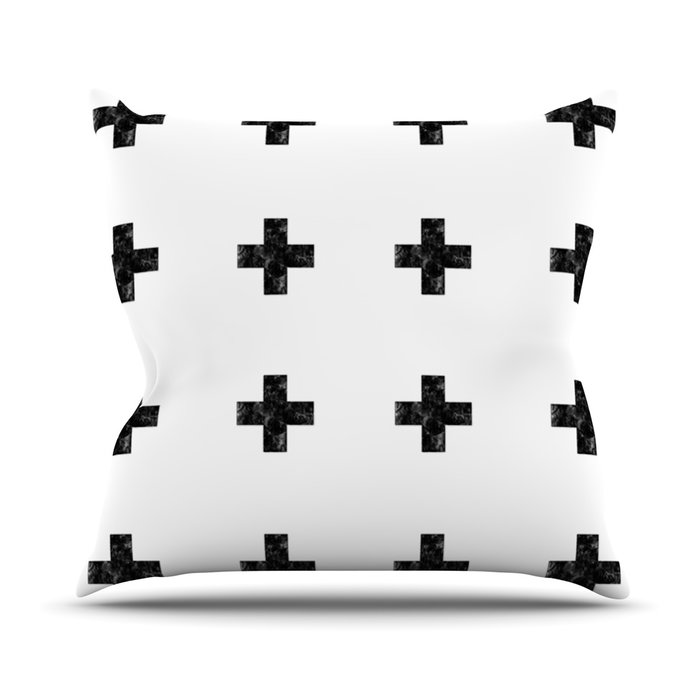 Black and White Cros Pillow Sumptuous Living Home dEcor