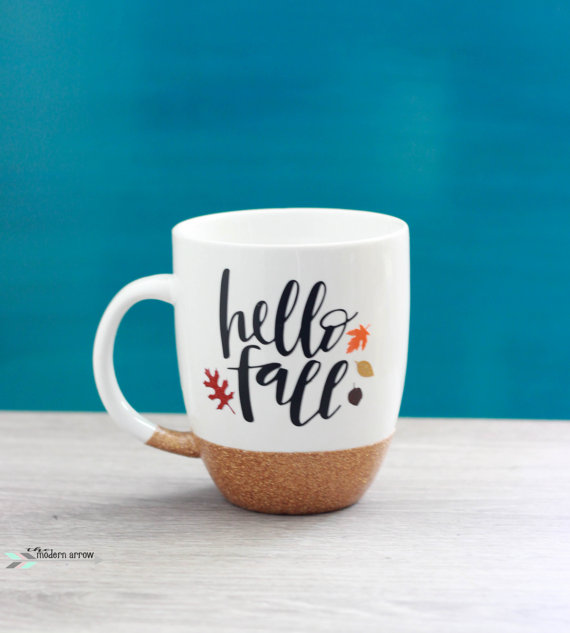 Etsy Hello Fall Glitter mug Sumptuous Living Seasonal