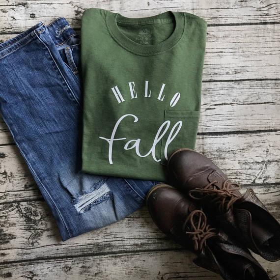 Etsy Hello Fall Shirt Sumptuous Living Seasonal