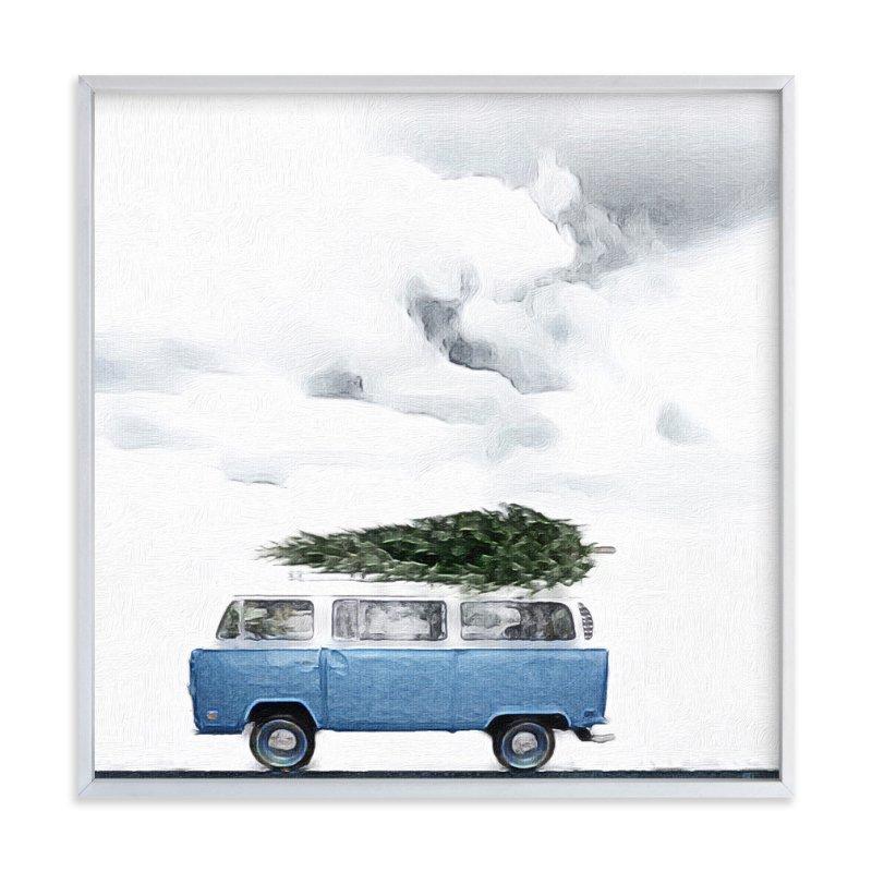 Minted Blue van with tree Art Sumptuous living seasonal goodies