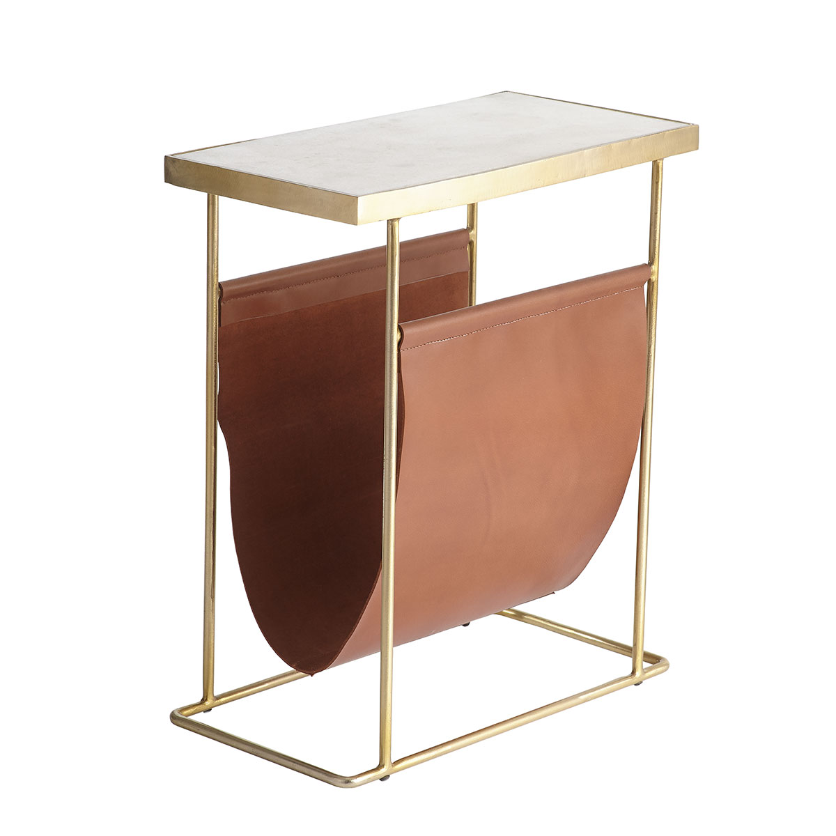 Side table lether and gold Sumptuous Living Home Decor