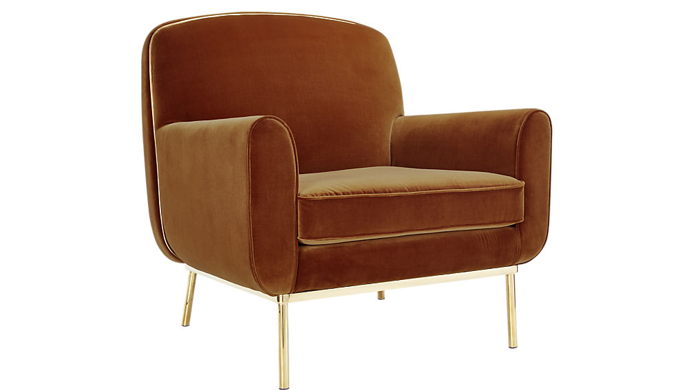 copper velvet armchair Sumptuous Living Home Decor