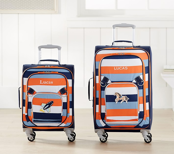 orange and blue striped kids luggage travel gear