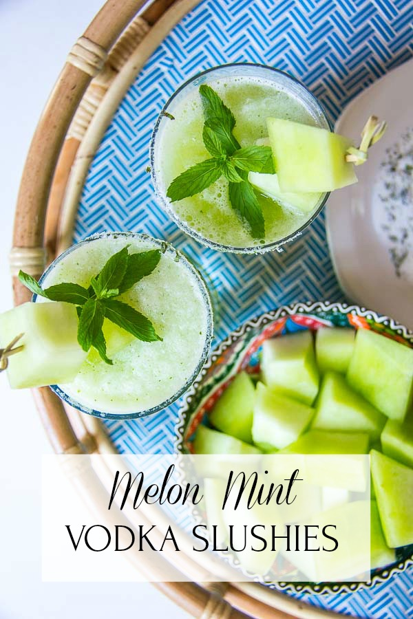 Melon Mint Vodka Cocktail with title