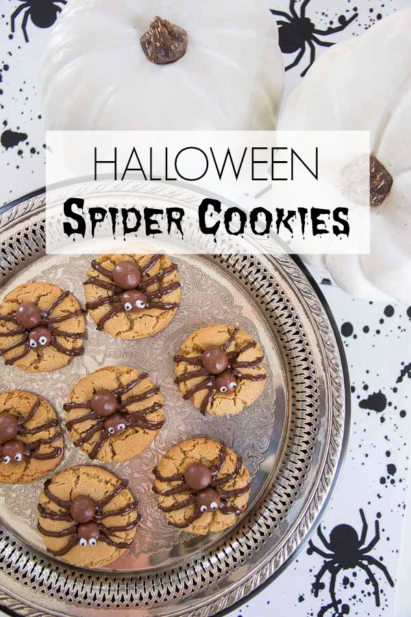 Halloween Spider Cookies Vertical with Title