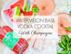 watermelon vodka champagne cocktail with graphic