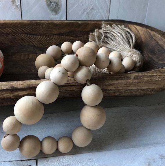 Etsy Wood Bead Garland with tassel Sumptuous Living Seasonal