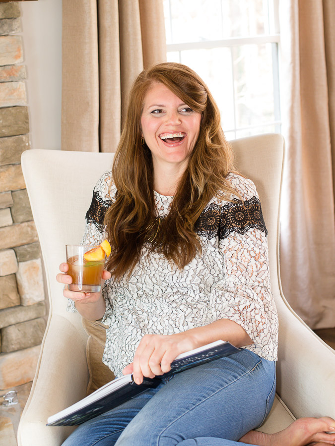 mandy landefeld with peach basil old fashioned