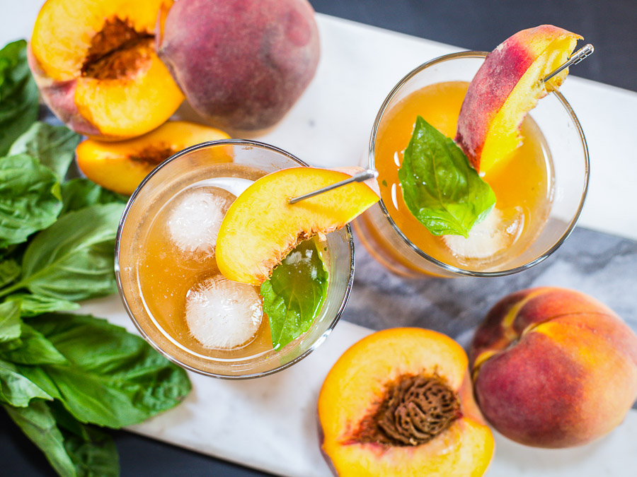 peach basil old fashioned cocktail