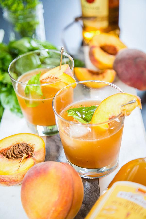 Peach Basil Old Fashioned